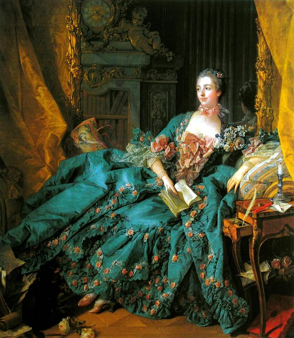 In this portrait, a woman in a lavish turqoise dress with peach-coloured roses lounges with a book in her hand. Behind her you can see other elements of the room including a bookcase and grand clock. Next to her is a small table with a candle on it. It's all very opulent!
