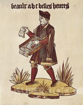A print of a man with a box of books wrapped around his shoulders and resting in front of him. He is shown walking on top of a small area of grass and with an open book in one hand.