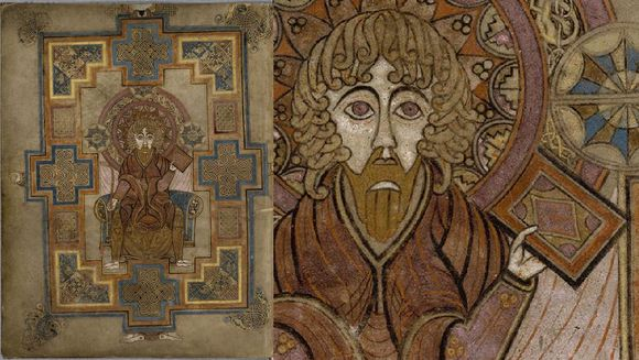 On the left is the full illuminated page which shows Christ holding a red book. Around him is a geometric design. On the right is a closeup of the book in his hands.