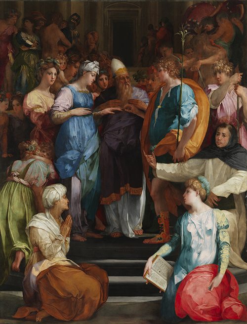 Rosso's 'Marriage of the Virgin' showing a youthful Joseph putting a ring on Mary's finger before a priest