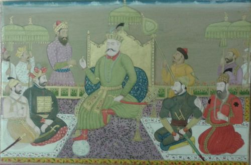 The first five Sultans of Bijapur.  By a Deccani artist, c.1750, after a lost Bijpur original of c.1610.  Opaque water-colour with gold.  180 by 272 mm.  Add.Or.4242