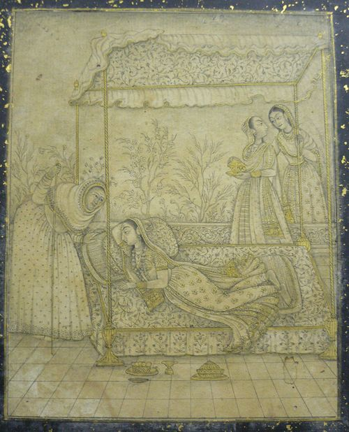 A lady pining for her absent lover.  Hyderabad, c. 1740-50.  Brush drawing with gold.  170 by 132 mm.  Add.Or.5695.