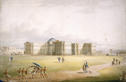 Government House in Calcutta, home of the Governor-General of Bengal, a watercolour by Edward Orme after James Moffat c. 1804. British Library, WD 476.