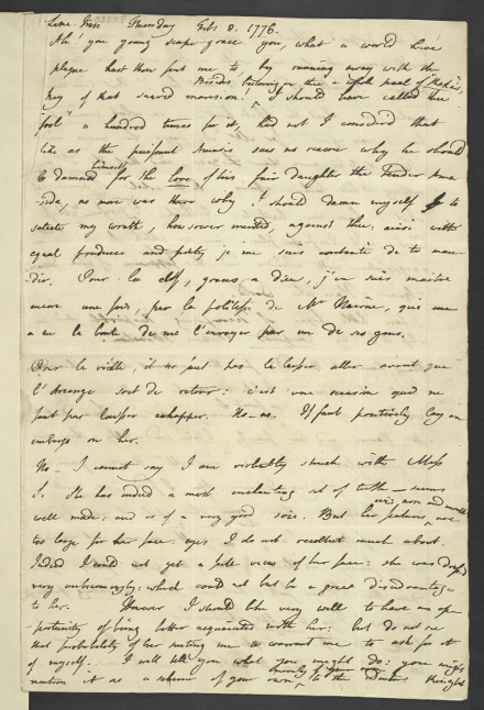 Jeremy Bentham's letter to his brother Samuel, written in 1776