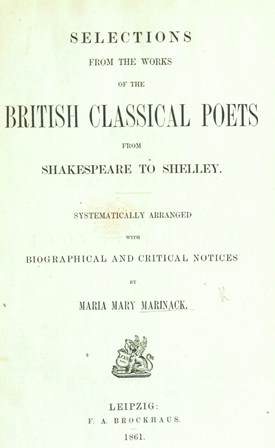 Title-page of 'Selections from the British Poets'