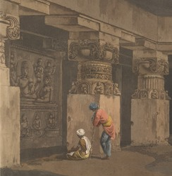 An Indian artist possibly Gangaram sketching details of Hindu sculpture.  Detail from 'The Ashes of Ravana, interior view.' Plate 19 from Hindoo excavations in the mountain of Ellora, London, 1803.  X432/6 pl. 19 detail