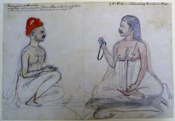 Self-portrait of the artist with his guru, both seated facing the other in profile.  By Gangaram, 1790.  Inscribed (by Sir Charles Warre Malet): Gungaram by Himself, very like + a very ingenious Person at Poona in the service of CWM, by whom the subsequent native sketches were drawn chiefly from life + His Groo a celebrated holy Hermit near Poona.  Water-colour on paper; 250 by 362 mm.  Add.Or.4145
