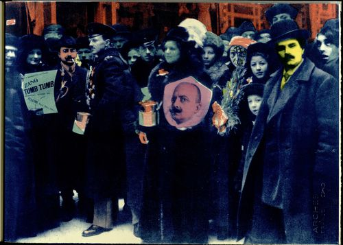 Collage of Marinetti arriving in Russia