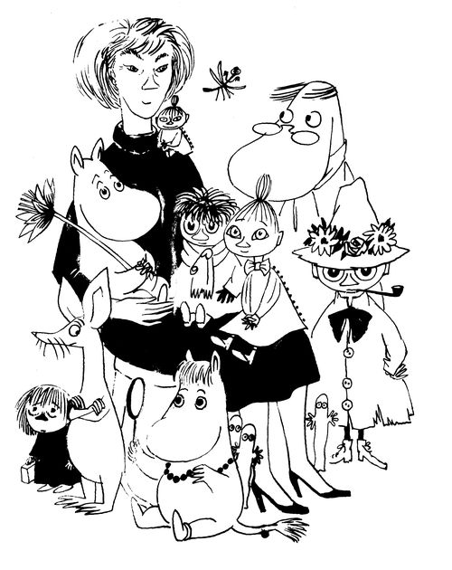 Self-portrait of Tove Jansson, surrounded by characters from her Moomin stories