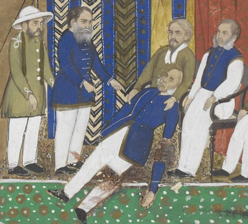 The accident that befell Sir Donald Friell McLeod at Gloucester Road underground station, 1872, and its aftermath. By a Punjab artist, c.1885. Water-colour heightened with bodycolour and gold, on paper laid on card; Detail of the painting. British Library, Add.Or.5266.
