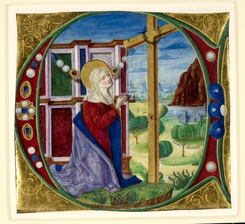 Illuminated initial with St Helen praying before the True Cross