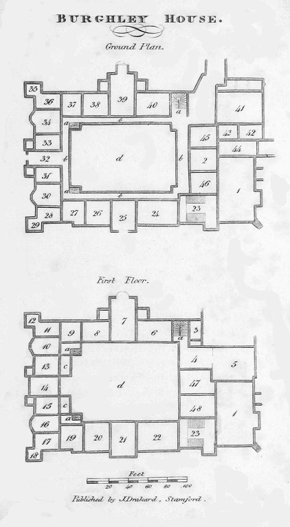 Plans from A Guide to Burghley: a series of rooms are outlined and numbered.