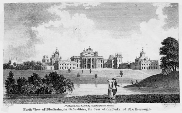 Two people, a man and woman, are at the foreground of this print of Blenheim Palace. Just behind the figures is a lake with a small island filled with trees. At the background sits the palace.