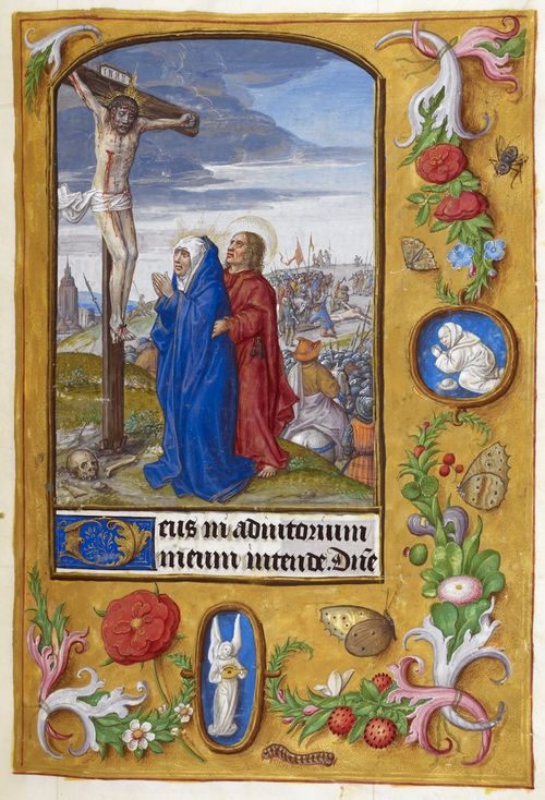 A page from a medieval manuscript, showing an illustration of the Crucifixion, with a decorated border.