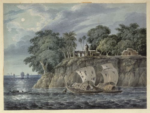 A steep promontory at Pirpainti with ruins by moonlight. Inscribed: 'N16 Pointee. Augt 1820.' WD4404, f.16.