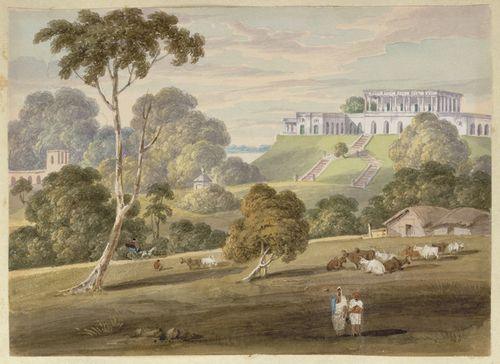 Clevland's monument and house at Bhagalpur. Inscribed: 'N23 The Hill House at Bhaughulpore from the South East. Septr 1820.' WD4404, f.23.