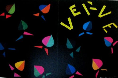 Matisse's cover for 'Verve' no.8 with brightly-coloured cut-outs on a black background