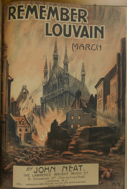 Cover of 'Remember Louvain' with an illustration of the bombed city in flames