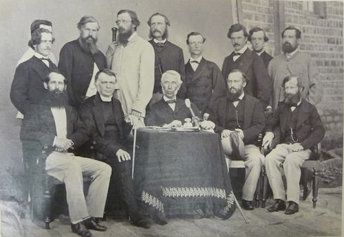 Lt. Governor [Sir Donald McLeod] and others, Murree, 1865. British Library, Photo 211/1(61). In the front row: Mr. Robert, Reverend Dr. George Edward Lynch Cotton, Sir Donald McLeod, Captain Alexander Taylor, and Major-General Edward John Lake.