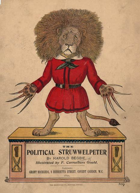 Cover of 'The Political Struwwelpeter' with a lion in the classic pose of the Struwwelpeter character with long mane and claws