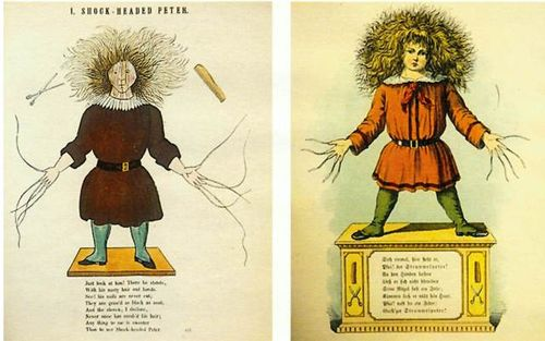 Two images of the 'Struwwelpeter' character in a red tunic with wild hair and long nails