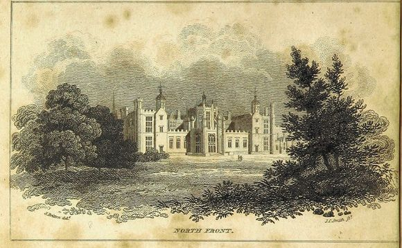 This print shows Corsham House surrounded by trees.