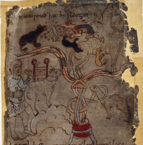 A detail from the Beowulf Manuscript, showing an illustration of dog-like ants, accompanying the text of the Marvels of the East.