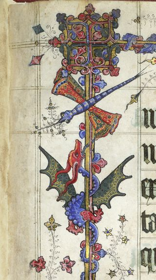 A detail from the Lovell Lectionary, showing a marginal illustration of a dragonfly and a dragon.