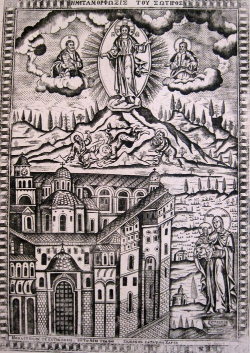 Engraving of the transfiguration (above) with a monastery and St Anne and the Virgin Mary (below)
