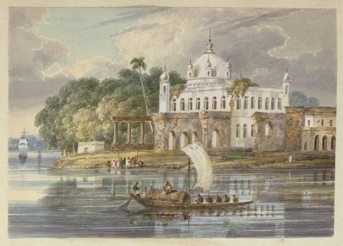 The Takht Sri Harmandir Patna Sahib. Inscribed: 'N2 Gunga Govind Sing's Temple at the confluence of the Baugrutty and Jalangi Rivers. Augt 1820.' WD4404, f.2.