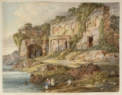 A view looking south beneath the Sangi Dalan of Shah Shuja's palace at Rajmahal. Inscribed: 'N12 Part of the Ruins of the Palace at Rajemahl. Augt 1820.' WD4404, f.12.