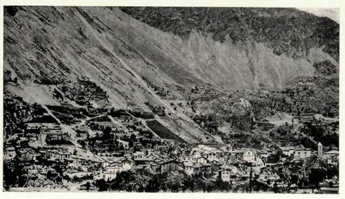 Black-and-white photograph of Andorra la Vella seen from above