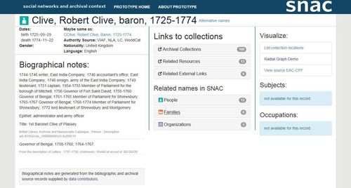 Screenshot of SNAC page on Robert Clive