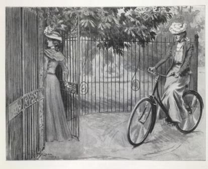 Victorian woman cycling