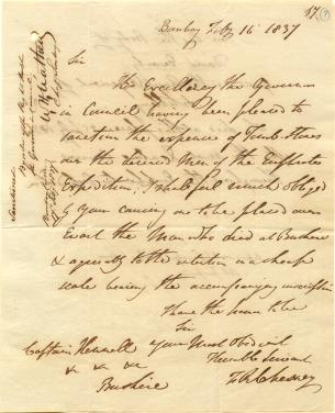 Letter from Francis Rawdon Chesney, Commander of the Euphrates Expedition, to Samuel Hennell, Resident at Bushire, dated 16 February 1837