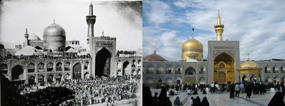 Two views of Imam Reza Shrine. On the left, a black and white photograph with many people standing outside. On the right, a colour photograph showing how it looks today.
