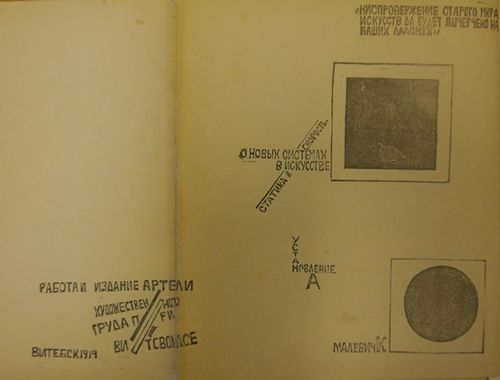 Page from 'O novykh sistemakh v iskusstve' with short pieces of text and a black square and circle