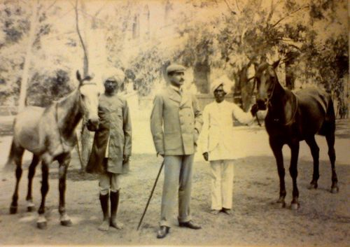 Harry Ross with horses and Indian handlers