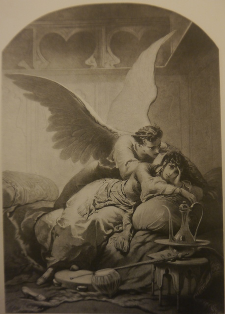 Ilustration of the Demon embracing Tamara on a couch