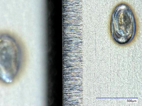 The sharp and smooth edge of the razor is even more apparent at high magnification.