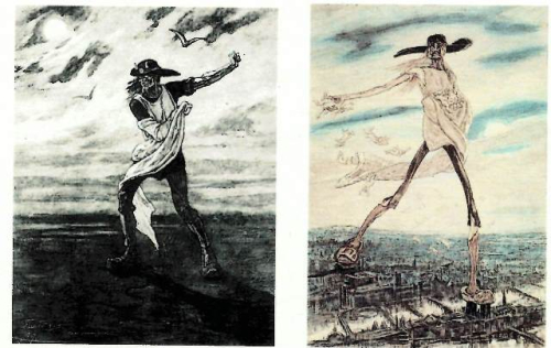 A skeleton sowing seeds in a field (left) and from the sky over Paris (right)