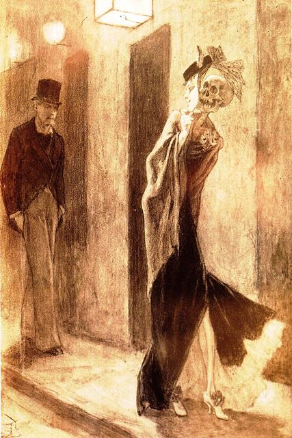 'La Parodie humaine' - picture of a man approaching a prostitute whose face is a mask hiding a skull