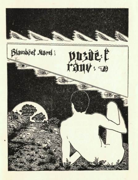 Frontispiece from 'Pozdě k ráno' with a rear view of a reclining nude male figure watching the moon rise over a landscape
