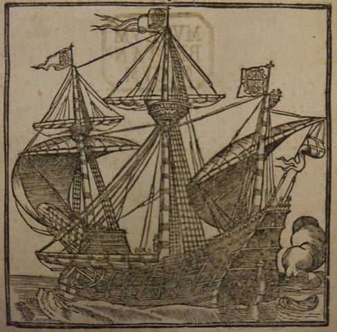 Woodcut illustration of a sailing ship at sea