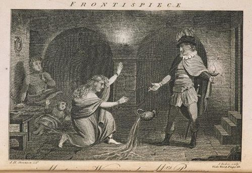 Frontispiece of 'The Mysterious Warning', showing a jug pouring water while suspended in mid-air, to the amazement of onlookers