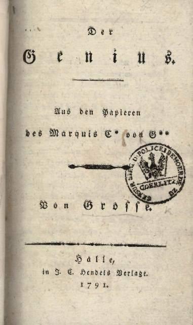 Title page of 'Der Genius'