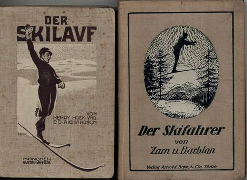 Book-covers showing a skier (left) and ski-jumper (right)
