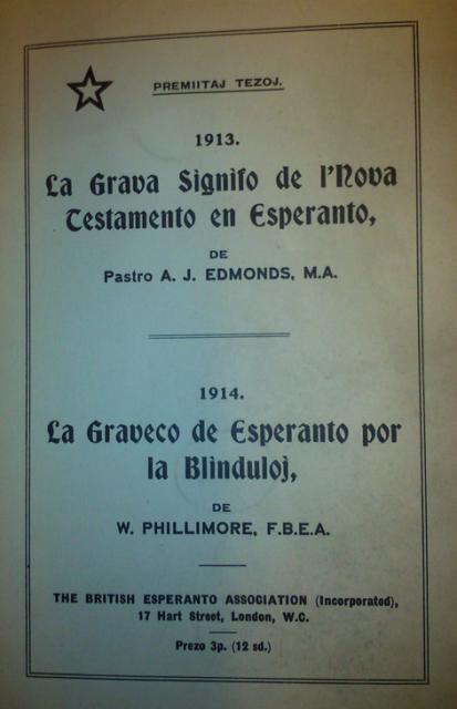 Cover of 'La Graveco de Esperanto por la Blinduloj'