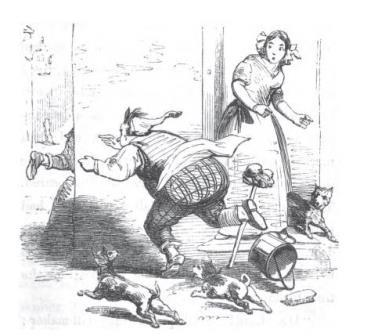 Chirrup chasing the boy who stole the poisoned pie