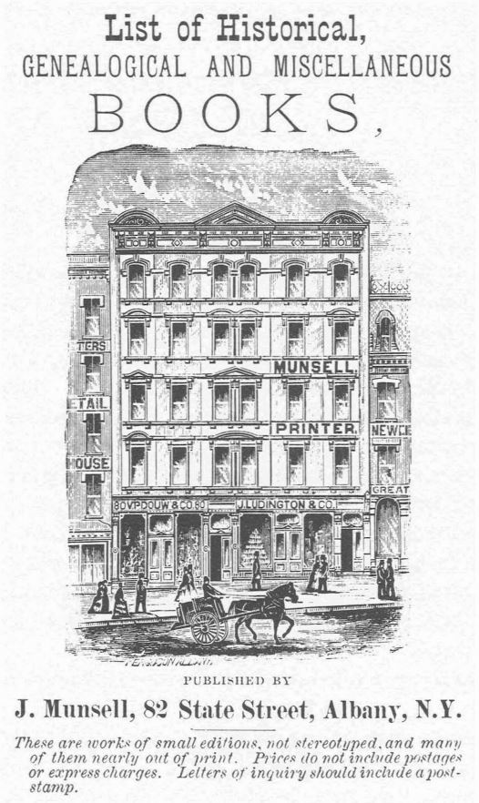 A print showing the Munsell Printer building. In the foreground in a horse drawn carriage.